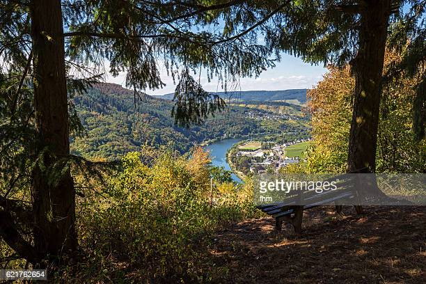 Traben-Trarbach near Moselle River - seen from the mountains and forrest arround it