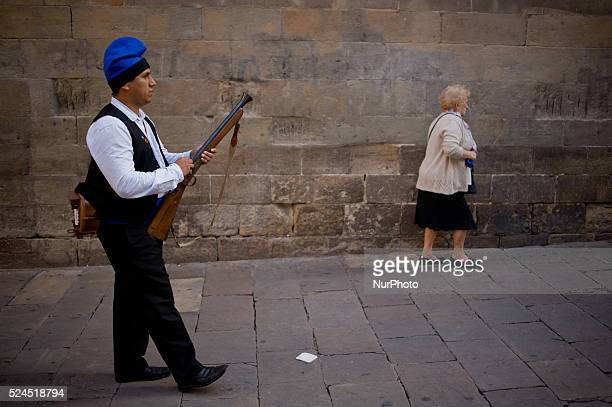 A trabucaire through the streets of Barcelona on the occasion of the celebrations of the Merce Festival on 24 September 2015 Spain The Galejada...