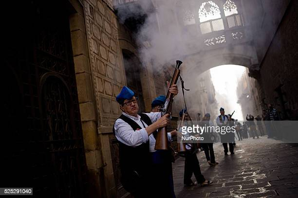 Trabucaires shoot his blunderbuss through the streets of Barcelona on the occasion of the celebrations of the Merce Festival on 24 September 2015...
