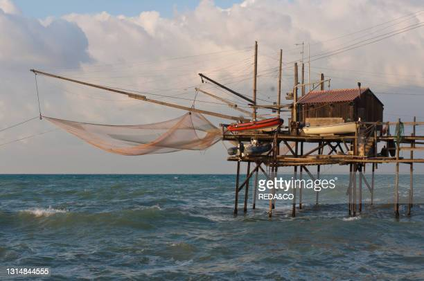 Trabucchi are an ancient form of fishing with hut on stilts. Termoli. Molise. Italy. Europe.