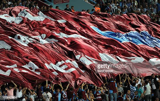 Trabzonspor AS fans at the Spor Toto Super League match between Trabzonspor AS and Fenerbahce SK held at the Avni Aker Stadium on August 23 2010 in...