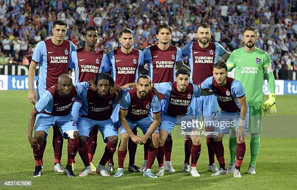 Trabzonspor players pose for a team photo prior to the UEFA Europa League 3rd qualifying round second leg match between Trabzonspor and Rabotnicki at...