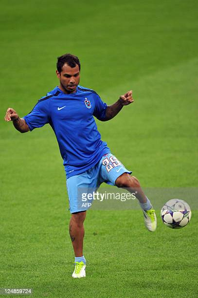 Trabzonspor's Brasilian midfielder Alazinho controls the ball during a training session on September 13 2011 at San Siro Stadium the day before their...