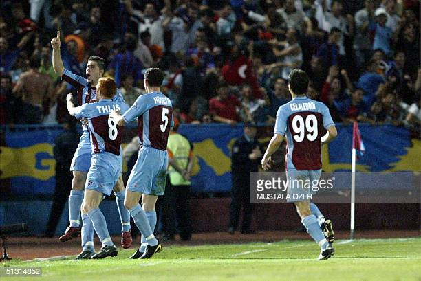 Trabzonspor's Mehmet Yilmaz celebrates his goal against Athletic Bilbao with his team mates during their UEFA Cup first raund first leg football...
