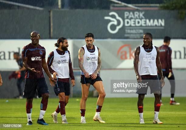 Trabzonspor's Olcay Sahan Anthony Nnaduzor Nwakaeme Jose Sosa and Rodallega attend a training session held ahead of Turkish Super Lig week 5 match...
