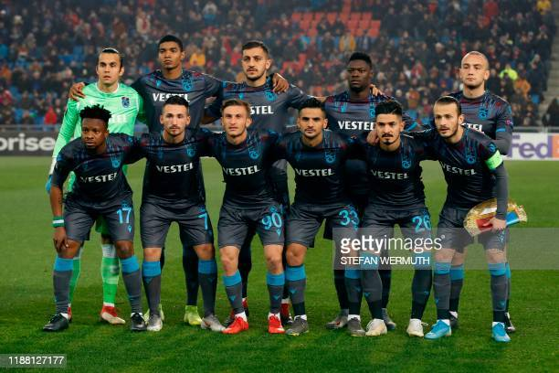 Trabzonspor's players pose prior to the UEFA Europa League group C football match between Basel and Trabzonspor at the St. Jakob-Park stadium, in...
