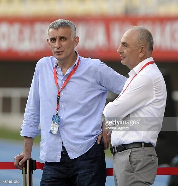 Trabzonspor's president Ibrahim Haciosmanoglu and sporting director Suleyman Hurma watch the UEFA Europa League 3rd qualifying round first leg...