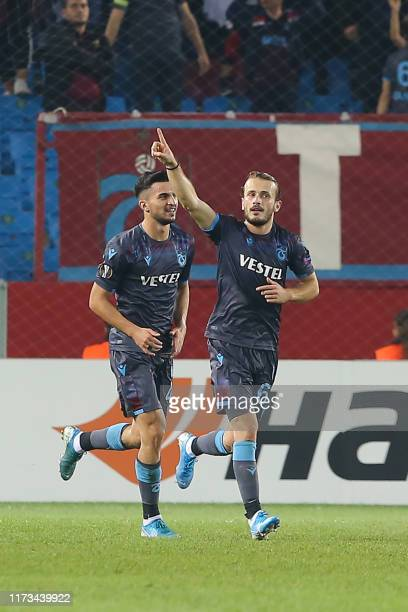 Trabzonspor's Turkish midfielder Abdulkadir Parmak celebrates after scoring a goal during the UEFA Europa League group C football match between...