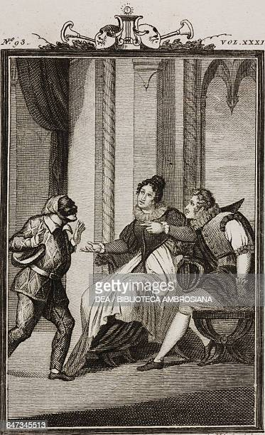 Traccagnino Aurelia and Count Ottavio engraving by Antonio Viviani from a drawing by C Rizzardini from The Loving Mother Act I Scene 4 Comedies...