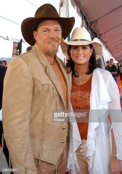 Trace Adkins and Terri Clark during 2003 CMT Flameworthy Awards Arrivals at The Gaylord Center in Nashville Tennessee United States