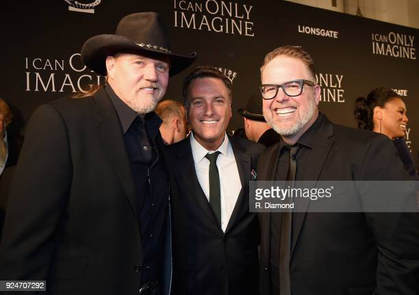 Trace Adkins Michael W Smith and Bart Millard attend the 'I Can Only Imagine' premiere at Schermerhorn Symphony Center on February 26 2018 in...