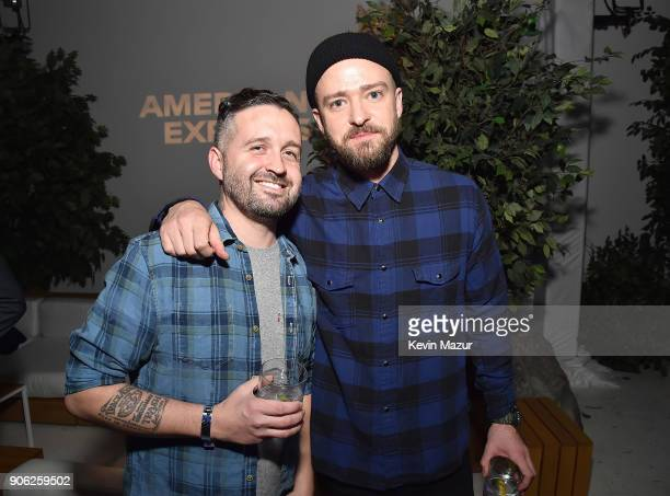 Trace Ayala and Justin Timberlake attend American Express x Justin Timberlake 'Man Of The Woods' listening session at Skylight Clarkson Sq on January...