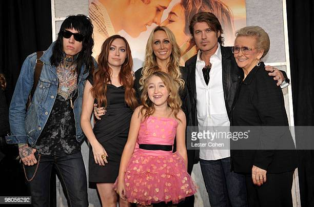 """Trace Cyrus, Brandi Cyrus, Noah Cyrus, Tish Cyrus, Billy Ray Cyrus and grandmother Loretta Finley arrive at the """"The Last Song"""" Los Angeles premiere..."""