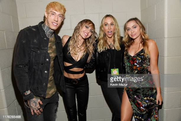 Trace Cyrus, Miley Cyrus, Tish Cyrus, and Brandi Cyrus pose backstage during the 2019 iHeartRadio Music Festival at T-Mobile Arena on September 21,...