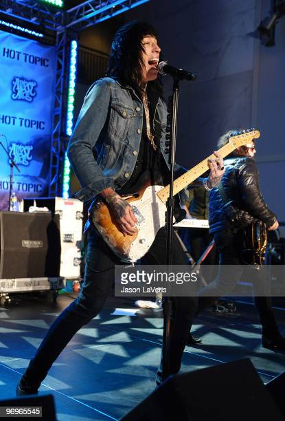 Trace Cyrus of Metro Station performs at the Alice In Wonderland Great Big Ultimate Fan Event at Hollywood Highland Courtyard on February 19 2010 in...