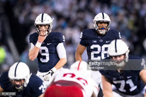 Trace McSorley and Saquon Barkley of the Penn State Nittany Lions ready for the snap during the game against the Nebraska Cornhuskers on November 18...