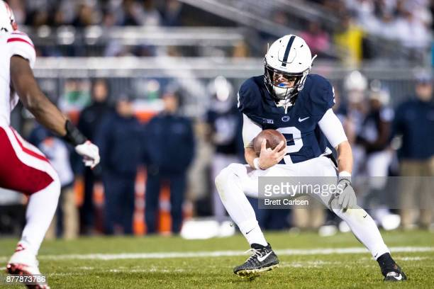 Trace McSorley of the Penn State Nittany Lions carries the ball during the game against the Nebraska Cornhuskers on November 18 2017 at Beaver...