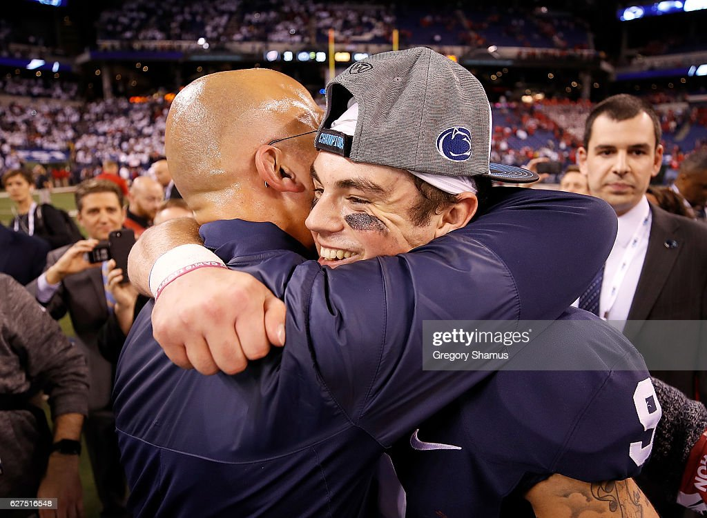 Trace McSorley #9 of the Penn State Nittany Lions hugs Head Coach James Franklin after the Big Ten Championship game at Lucas Oil Stadium on December 3, 2016 in Indianapolis, Indiana.