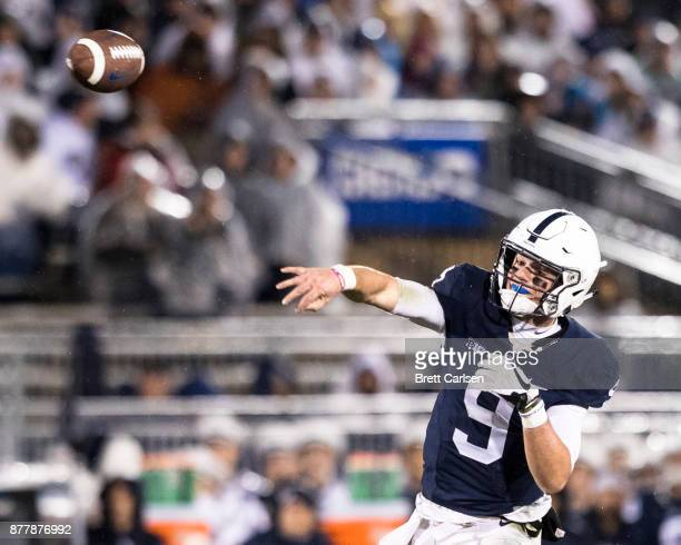 Trace McSorley of the Penn State Nittany Lions passes the ball during the game against the Nebraska Cornhuskers on November 18 2017 at Beaver Stadium...