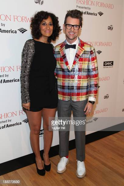 Tracee Ellis Ross and Brad Goreski attend Fashion Forward benefiting the gay men's health crisis at the Metropolitan Pavilion on November 17 2011 in...