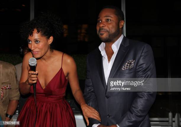 Tracee Ellis Ross and MalcolmJamal Warner attend the Reed Between The Lines VIP screening at Bar Basque on October 10 2011 in New York City