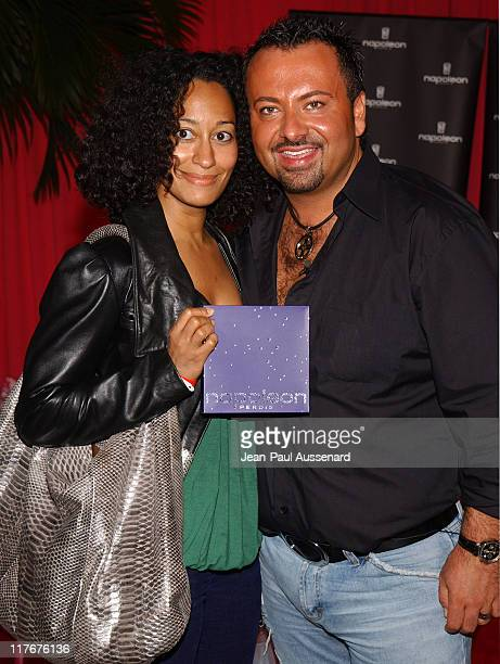 Tracee Ellis Ross and Napoleon Perdis during Silver Spoon PreGolden Globe Hollywood Buffet Day 1 at Private Residence in Los Angeles California...