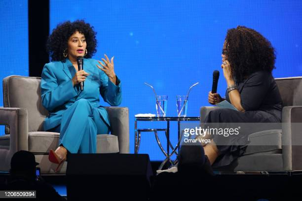 Tracee Ellis Ross and Oprah Winfrey speaks during Oprah's 2020 Vision Your Life in Focus Tour presented by WW at American Airlines Center on February...