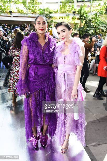 Tracee Ellis Ross and Rowan Blanchard attend Rodarte FW19 Fashion Show at The Huntington Library and Gardens on February 05 2019 in San Marino...