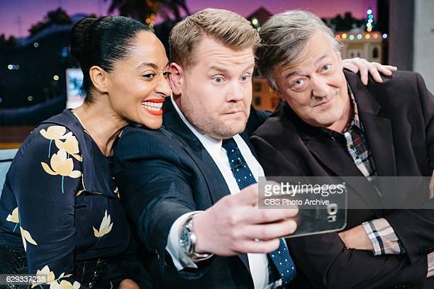Tracee Ellis Ross and Stephen Fry chat with James Corden during 'The Late Late Show with James Corden' Thursday December 8 2016 On The CBS Television...