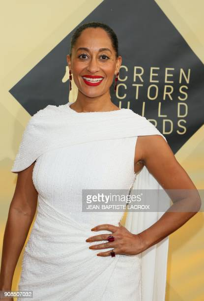 Tracee Ellis Ross arrives for the 24th Annual Screen Actors Guild Awards at the Shrine Exposition Center on January 21 in Los Angeles California /...