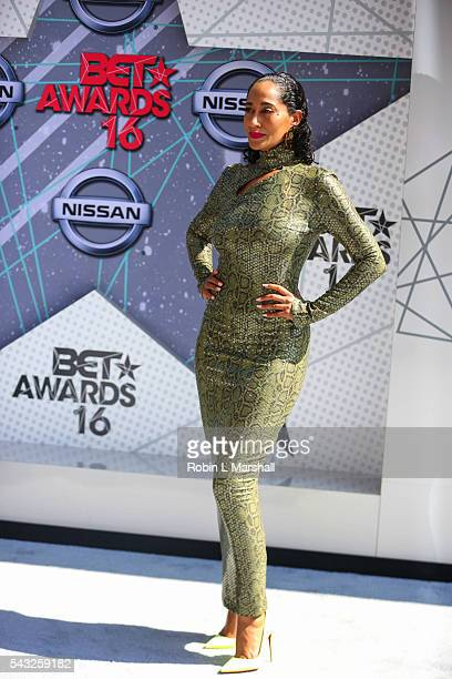 Tracee Ellis Ross attends the 2016 BET Awards Red Carpet at Microsoft Theater on June 26 2016 in Los Angeles California