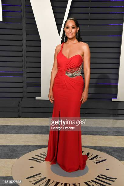 Tracee Ellis Ross attends the 2019 Vanity Fair Oscar Party hosted by Radhika Jones at Wallis Annenberg Center for the Performing Arts on February 24...