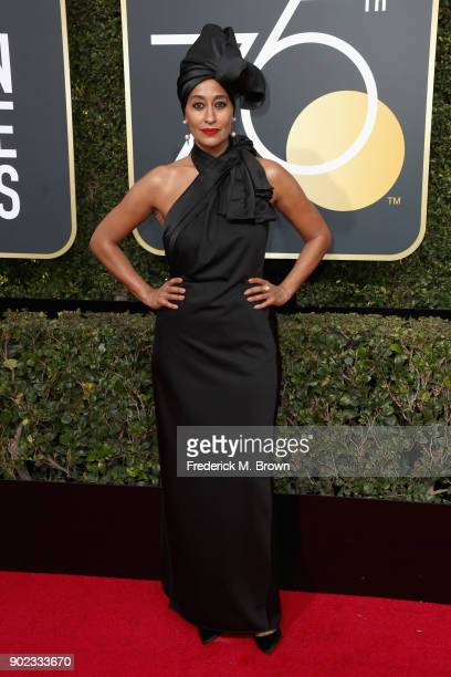 Tracee Ellis Ross attends The 75th Annual Golden Globe Awards at The Beverly Hilton Hotel on January 7 2018 in Beverly Hills California