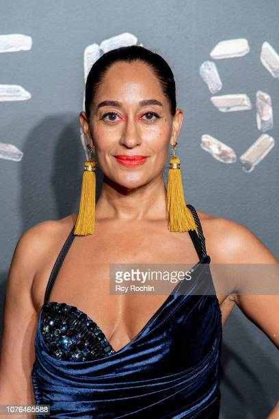 Tracee Ellis Ross attends the the Versace fall 2019 fashion show at the American Stock Exchange Building in lower Manhattan on December 02 2018 in...
