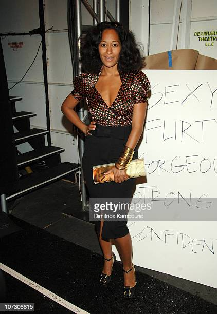Tracee Ellis Ross during Olympus Fashion Week Spring 2007 - Diane von Furstenberg - Front Row and Backstage at Bryant Park in New York City, New...