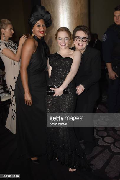 Tracee Ellis Ross Emma Stone and Billie Jean King attend a cocktail reception during The 75th Annual Golden Globe Awards at The Beverly Hilton Hotel...