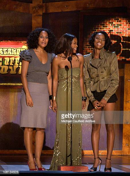 Tracee Ellis Ross Golden Brooks and Jill Marie Jones present the award for Outstanding Box Office Movie