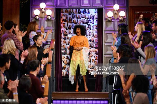 Tracee Ellis Ross greets the audience during 'The Late Late Show with James Corden' Monday April 16 2018 On The CBS Television Network