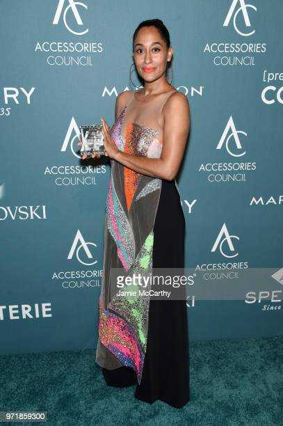 Tracee Ellis Ross poses with an award backstage the 22nd Annual Accessories Council ACE Awards at Cipriani 42nd Street on June 11 2018 in New York...