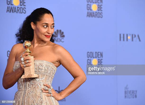Tracee Ellis Ross poses with the award for Best Actress in a Comedy TV series for her role in Black-ish, in the press room at the 74th annual Golden...