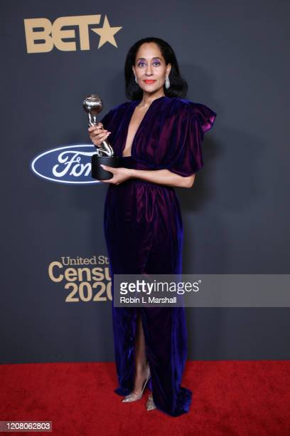 Tracee Ellis Ross poses with the Outstanding Actress in a Comedy Series award for Blackish at the 51st NAACP Image Awards Presented by BET at...