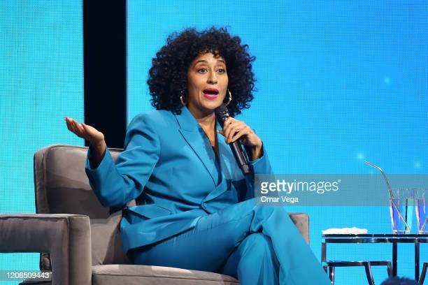Tracee Ellis Ross speaks during Oprah's 2020 Vision Your Life in Focus Tour presented by WW at American Airlines Center on February 15 2020 in Dallas...