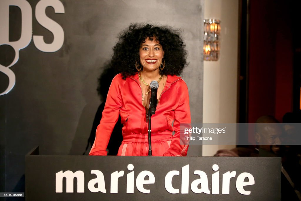 Tracee Ellis Ross speaks on stage at the Marie Claire's Image Makers Awards 2018 on January 11, 2018 in West Hollywood, California.