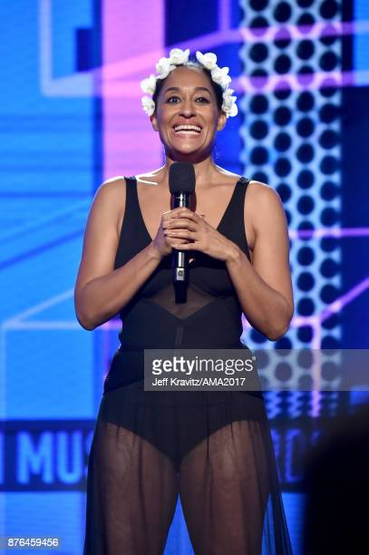 Tracee Ellis Ross speaks onstage during the 2017 American Music Awards at Microsoft Theater on November 19 2017 in Los Angeles California