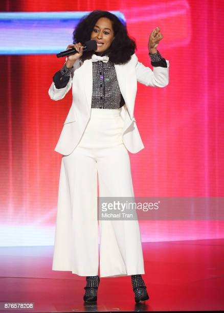Tracee Ellis Ross speaks onstage during the 2017 American Music Awards held at Microsoft Theater on November 19, 2017 in Los Angeles, California.