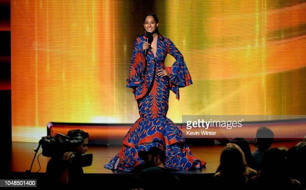 Tracee Ellis Ross speaks onstage during the 2018 American Music Awards at Microsoft Theater on October 9 2018 in Los Angeles California