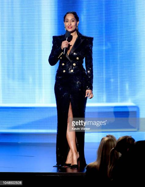Tracee Ellis Ross speaks onstage during the 2018 American Music Awards at Microsoft Theater on October 9, 2018 in Los Angeles, California.