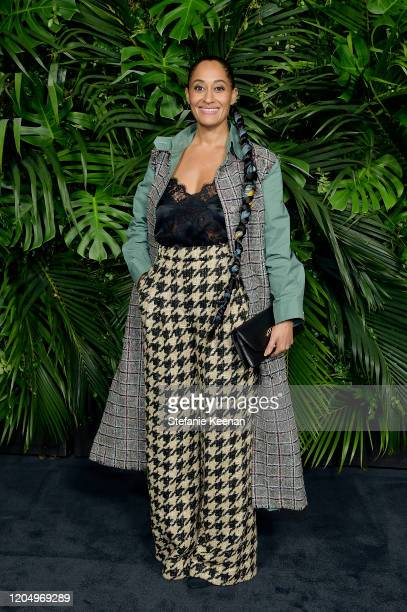 Tracee Ellis Ross wearing CHANEL attends CHANEL and Charles Finch PreOscar Awards Dinner at Polo Lounge at The Beverly Hills Hotel on February 08...