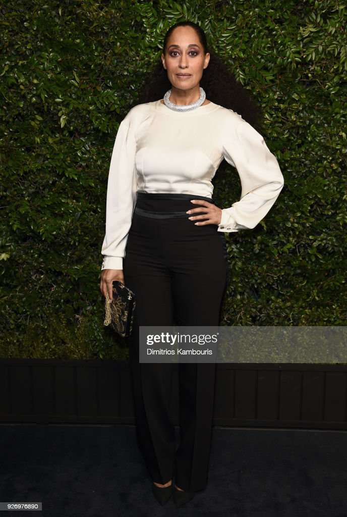 Tracee Ellis Ross, wearing CHANEL, attends Charles Finch and Chanel Pre-Oscar Awards Dinner at Madeo in Beverly Hills on March 3, 2018 in Beverly Hills, California.