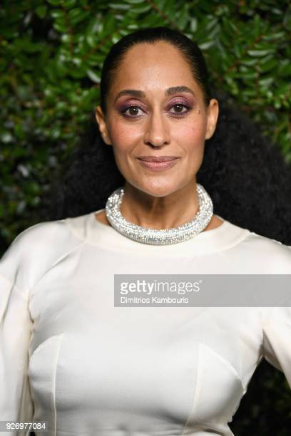 Tracee Ellis Ross wearing CHANEL attends Charles Finch and Chanel PreOscar Awards Dinner at Madeo in Beverly Hills on March 3 2018 in Beverly Hills...